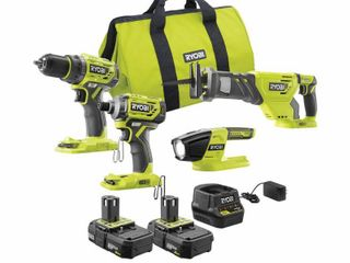 RYOBI 18 Volt ONE  lithium ion Brushless Cordless 4 Tool Combo Kit with  2  2 0 Ah Batteries  Charger  and Bag