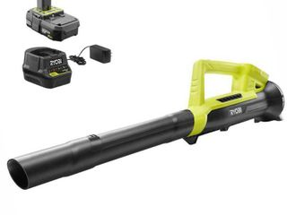 RYOBI Reconditioned ONE  90 MPH 200 CFM 18 Volt lithium Ion Cordless leaf Blower   2 0 Ah Battery and Charger Included