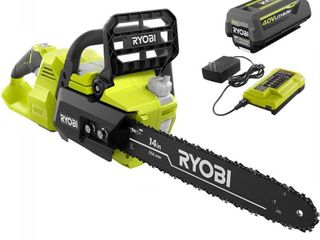 RYOBI 14 in  40 Volt Brushless lithium Ion Cordless Chainsaw  4 Ah Battery and Charger Included