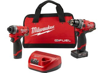 Milwaukee Electric Tools MlW2598 22 2 Piece M12 Fuel Kit  0 5 in  Hammer Drill   0 25 in  Impact