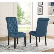 Copper Grove Schwalbach Wood Tufted Parsons Dining Chairs  Set of 2  Blue  Retail 148 76