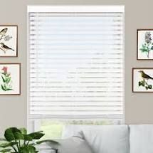 2  Cordless Faux Wood Blind   Smooth White 27 A60