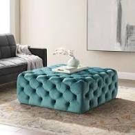 Carson Carrington Ullervad Button Tufted large Square Velvet Ottoman  Retail 388 99