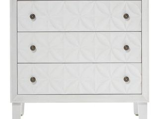 Carved White Wood Chest with Rosette Handles 32  x 32    32 x 16 x 32  Retail 607 99
