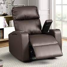 modern Terry Upholstered Faux leather Recliner Home Theater Recliner Espresso