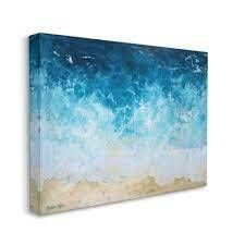 Stupell Industries Incoming Tide Nautical Beach Coastline Painting Super Oversized Stretched Canvas Wall Art