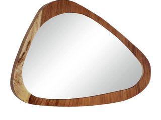 large Ellipse Teak Wood Wall Mirror  33  x 24    32 x 2 x 25  Retail 318 49