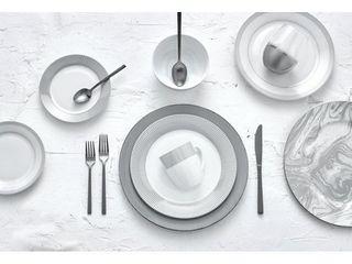 Dinnerset Round Rim 16Pcs   Grey line