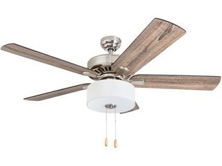 Prominence Home Canyon lakes Farmhouse 52  Brushed Nickel lED Ceiling Fan  Drum light  Barnwood Blades  3 Speed Remote   Retail 156 00