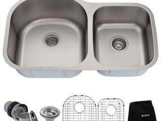 Kraus 35 inch Undermount 60 40 Double Bowl 16 gauge Stainless Steel Kitchen Sink