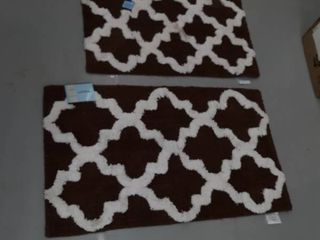 2  Plush Bath Rug With Anti Skid Back   Brown  23 x 40 Inches   20 x 34 Inches
