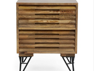 Hiland Indoor Mango Wood Handcrafted Nightstand by Christopher Knight Home  Retail 345 49