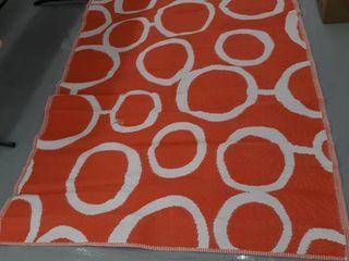 Outdoor Rug  White   Orange  83 1 2 In x 59 In