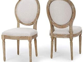 Christopher Knight Home Phinnaeus Fabric Dining Chair  Set of 2  2 Pcs Set