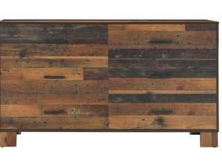 Sidney Collection 223143 58 5  Dresser with Six Storage Drawers Dark Bronze Metal Drawer Handles and English Dovetail Drawer Construction in Rustic