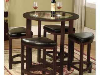 Roundhill Furniture Cylina Solid Wood Glass Top Round Dining Table TABlE ONlY