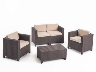 Waverly Outdoor 4 seater All weather Chat Set with Cushions by Christopher Knight Home   Dark Brown   Beige Cushion