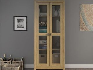 SystemBuild Brookstone 31 5  Wide Storage Cabinet with Mesh Doors in Golden Oak