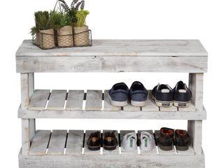 Handmade Del Hutson Designs Barnwood Shoe Rack  Retail 131 49 SOME BOARDS NO lONGER ATTACHED