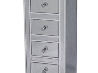 4 Drawer Mirrored Jewelry Cabinet  Antique White