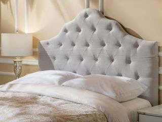 Marlen Adjustable Full  Queen Tufted Fabric Headboard by Christopher Knight Home   light Grey Fabric