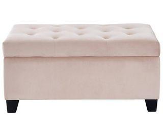 nspire Velvet Tufted Storage Ottoman  light Pink