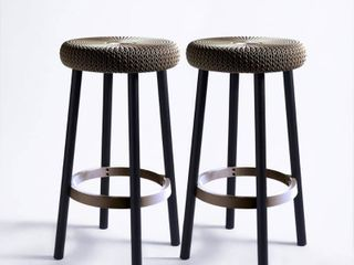 Keter Cozy Resin Plastic Outdoor Bar Stool in Taupe  2 Pack