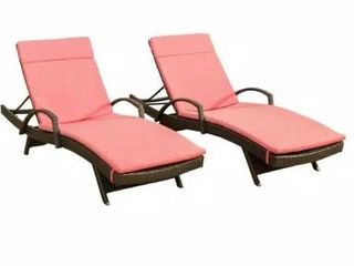 Multibrown 2 Piece Wicker Outdoor Chaise lounge Set  Red Cushions May Not be Included