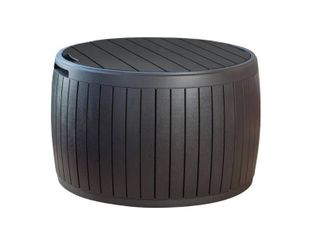 Keter 37 Gallon Circa Natural Wood Style Deck Box Storage Table