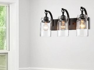 Anastasia Antique Black 3 light Wall Sconce with Clear Glass Shade  Retail 105 49