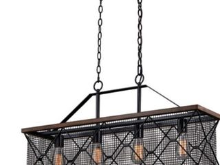 Bremerton linear Chandelier In Oil Rubbed Bronze and Burnished Teak