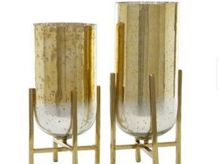 4 Gold Aluminum And Mercury Glass Candle holders