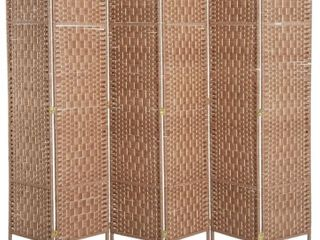 6  Tall Wicker Weave Six Panel Room Divider  Natural Blond Wood