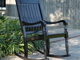 Cambridge Casual lyon Mahogany Oversized Porch Rocking Chair Black