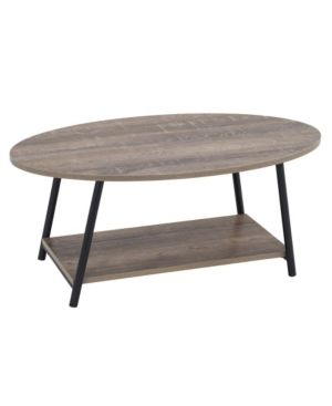 Household Essential Oval Coffee Table 2 Tier With Storage Shelf