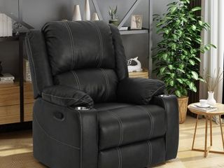 Sarina Traditional Faux leather Recliner Club Chair with Cup Holder by Christopher Knight Home  Retail 374 99