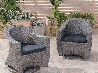 larchmont Outdoor Wicker Swivel Chair by Christopher Knight Home   Dark Gray 1 CHAIR NO CUSHIONS