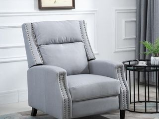 HOMCOM Reclining Sofa Chair Padded Seat lounger with Extendable Footrest and a linen Fabric Finish for living Room  Grey