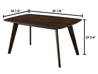 Mid Century Modern Wooden Dining Table with Fin leg Support  Brown