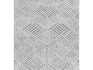 JONATHAN Y Jordan High low Pile Art Deco Geometric White Black 4 ft  x 6 ft  Indoor Outdoor Area Rug