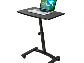 Seville Classics Mobile laptop Computer Desk Cart  Height Adjustable from 20 5  to 33  Black