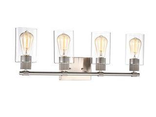 lighting MERCY Contemporary 4 light Brushed Nickel Bath Vanity Fixture 27  Width