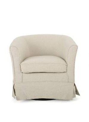 Beige Fabric Swivel Club Chair chair is wrinkled