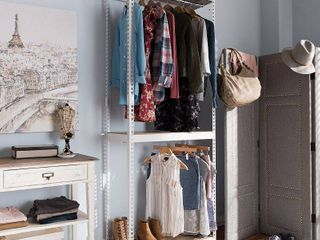 Gavin Metal 3   Shelf Closet Storage Racking Organizer   White   Baxton Studio