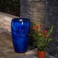 Demta 20 5inch Cobalt Blue Ceramic Fountain with lED light by Havenside Home  Retail 148 99