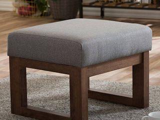Yashiya Mid   Century Retro Modern Fabric Upholstered Ottoman Stool   Gray   Baxton Studio