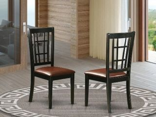 2 Nicoli Dining Chair with faux leather NIC BlK lC