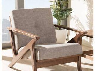 Baxtom Studio Biana Mid Century Modern Walnut Wood w  light Grey Fabric lounge Chair