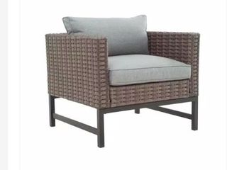 Outdoor Wicker lounge Chair with Gray Cushion