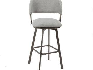 Adler Upholstered Metal Swivel Barstool with Open Curved Back Gray   Silverwood